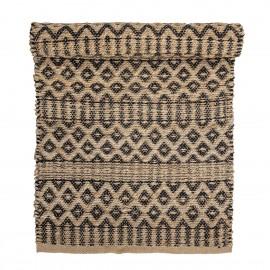 bloomingville tapis jute motif imprime geometrique noir