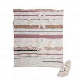 bloomingville plaid coton imprime rayures rose pompons balou