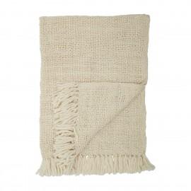 bloomingville plaid laine maille tricot blanc ecru franges hercules