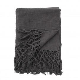 Plaid uni coton franges Bloomingville gris