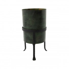 house doctor cache pot metal patine vert fer forge orga