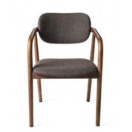pols potten henry chaise classique elegante 70 s bois fonce tissu gris