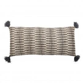 bloomingville coussin long imprime geometrique marron pompons 90 cm