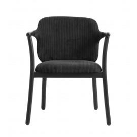 fauteuil de table velours cotele classique noir bois frene nordal esrum