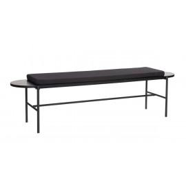 banc design noir bois metal coussin textile hubsch 020702F