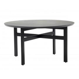 hubsch table basse ronde contemporaine moderne bois noir 80 cm
