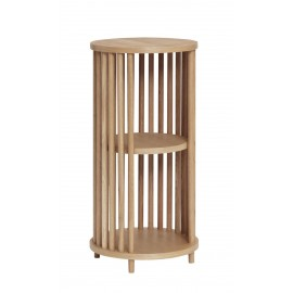 hubsch table appoint ronde a barreaux style scandinave bois clair