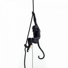 Suspension singe avec corde Seletti Monkey Lamp noir