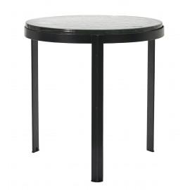 house doctor table basse ronde metal noir plateau verre epais smoke