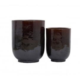 house doctor grand cache pot design marron ceramique pho