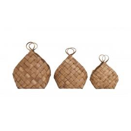 house doctor paniers design bois pin papier set de 3 conical