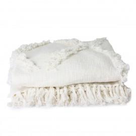 hk living jete de lit coton motif tufte blanc franges 270 x 270 cm