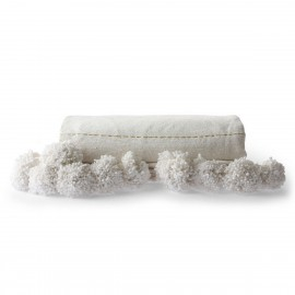 hk living couvre lit coton blanc fil dore pompons