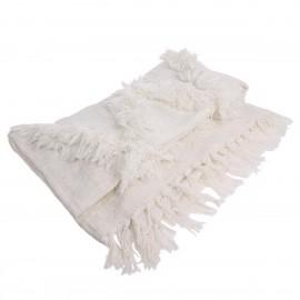 hk living plaid blanc coton motif tufte franges 130 x 150 cm
