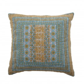 bloomingville coussin style broderie bleu jaune jero 40 x 40 cm