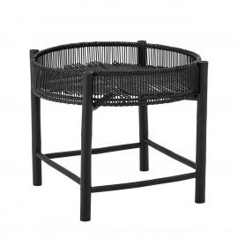 bloomingville table basse ronde noire bois bambou plateau amovible