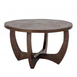 bloomingville table basse ronde bois fonce manguier style vintage