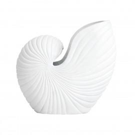 nordal vase forme de coquillage blanc aluminium sculpture rakitu