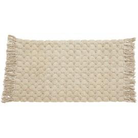 tapis de bain chic coton tufte blanc creme ecru franges nordal luna