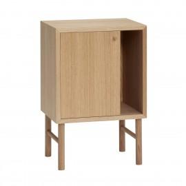 hubsch table de chevet design scandinave epure bois chene clair
