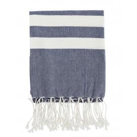 madam stoltz serviette fouta bleu 100 x 180 cm