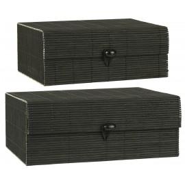 ib laursen boite de rangement bois de bambou noir set de 2