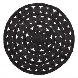bloomingville tapis rond jute noir ajoure petits cercles