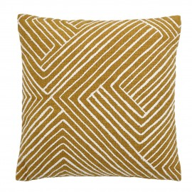 bloomingville coussin carre coton jaune moutarde blanc fines rayures