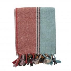 bloomingville plaid colore multicolore coton recycle franges serena