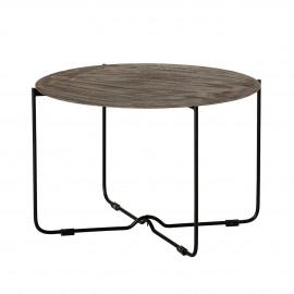 bloomingville table basse ronde metal patine style brut adele