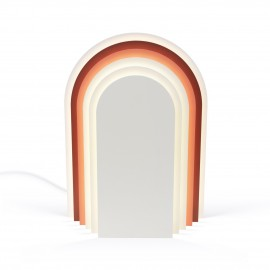 presse citron cemi lampe a poser design forme demi cercle rouge rose