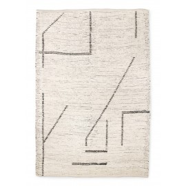 hk living tapis traits geometriques blanc creme gris coton recycle
