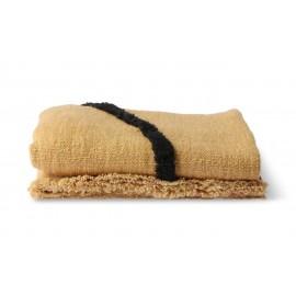 hk living plaid jete de lit doux coton jaune ocre traits noirs tufte
