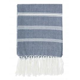 madam stoltz fouta serviette de hammam coton bleu fines rayures