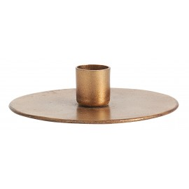 bougeoir rond plat disque metal dore laiton