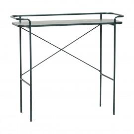 hubsch table console design epuree metal bois vert