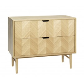 hubsch commode style scandinave 2 tiroirs bois chene clair
