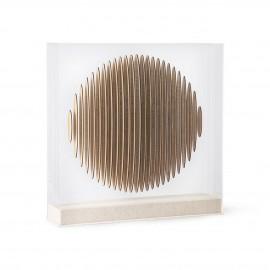 hk living tableau a poser plexiglass transparent cercle 3d bois