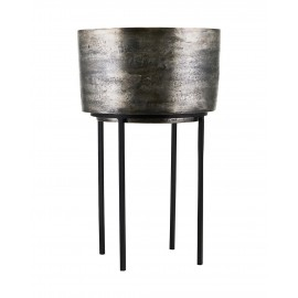 house doctor cache pot sur pied style chic metal argent kazi