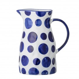 bloomingville pichet porcelaine blanc a pois bleus begonia