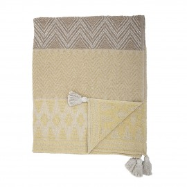 bloomingville plaid coton recycle jaune marron pompons nome