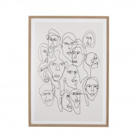 bloomingville illustration visages cadre noir blanc chichi