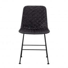 bloomingville chaise rotin noir tresse metal kitty