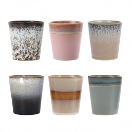 hk living set 6 tasse a cafe gobelet ceramique retro 70 s multicolore
