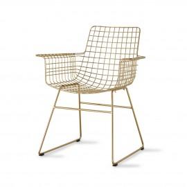 hk living chaise avec accoudoirs fauteuil metal filaire dore laiton