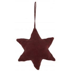 ib laursen etoile en velours decoration de sapin rouge bordeaux