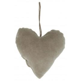 ib laursen decortion de sapin coeur en tissu velours gris clair