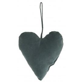 ib laursen coeur en velours decoration de sapin bleu canard