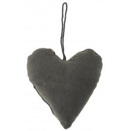ib laursen decoration de sapin coeur velours gris fonce