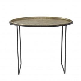 bloomingville petite table basse ovale plateau metal  laiton dore style orientale